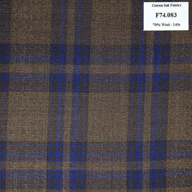 F74.083 Kevinlli V6 - Vải Suit 70% Wool - Nâu Caro Xanh Dương