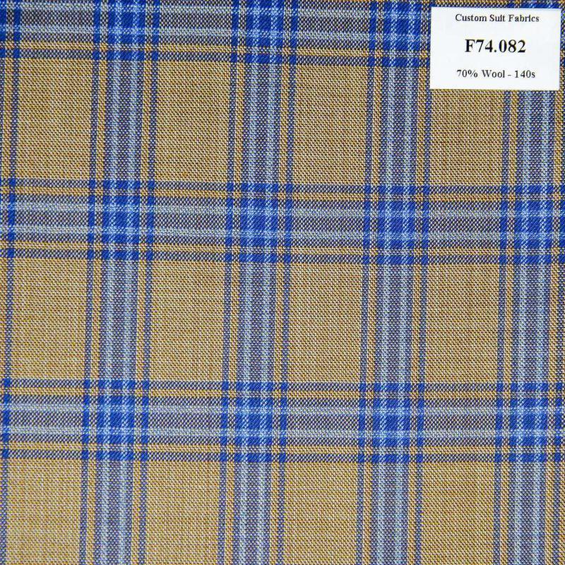 F74.082 Kevinlli V6 - Vải Suit 70% Wool - Nâu Caro Xanh Dương