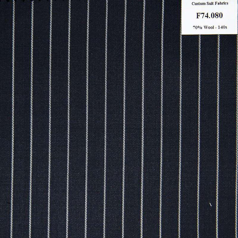 F74.080 Kevinlli V6 - Vải Suit 70% Wool - Xanh Dương Sọc