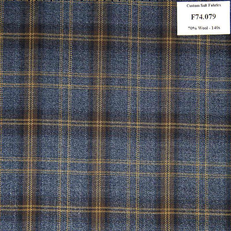 F74.079 Kevinlli V6 - Vải Suit 70% Wool - Xanh Dương Caro