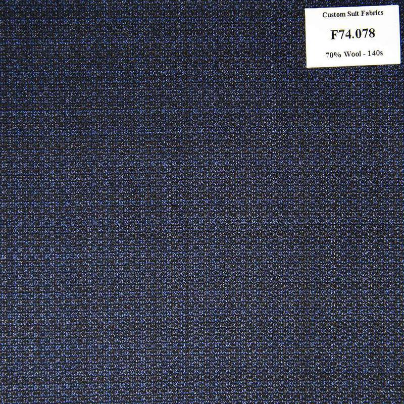 F74.078 Kevinlli V6 - Vải Suit 70% Wool - Xanh Dương Trơn