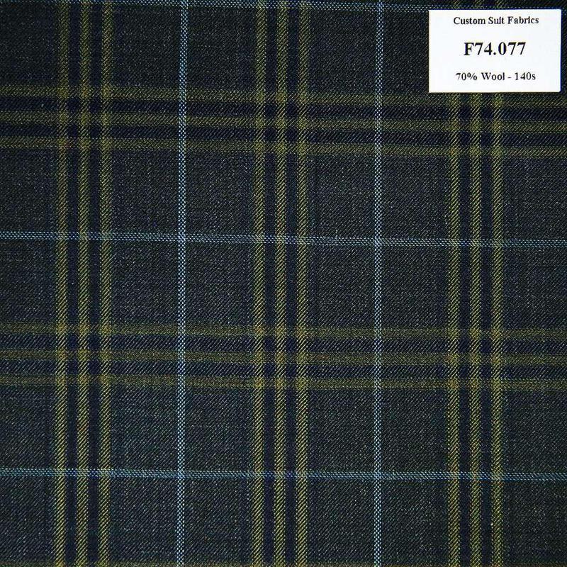 F74.077 Kevinlli V6 - Vải Suit 70% Wool - Xanh Dương Caro