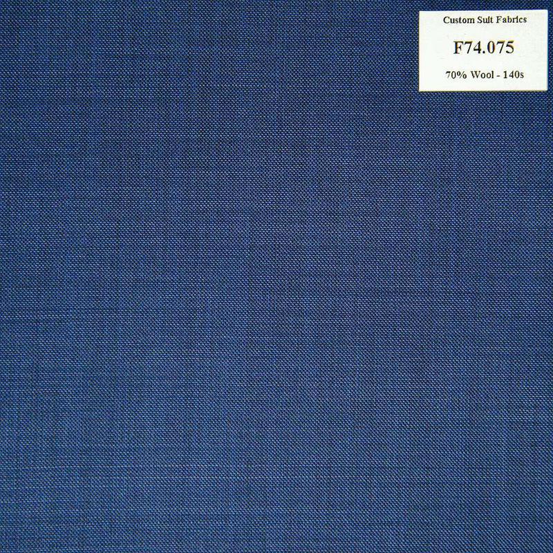 F74.075 Kevinlli V6 - Vải Suit 70% Wool - Xanh Dương Trơn