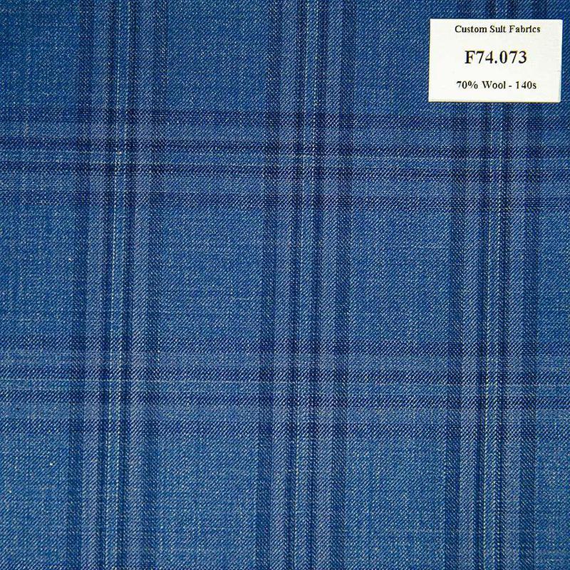 F74.073 Kevinlli V6 - Vải Suit 70% Wool - Xanh Dương Caro