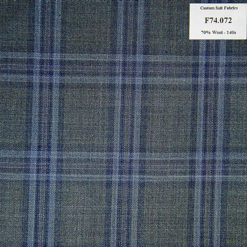 F74.072 Kevinlli V6 - Vải Suit 70% Wool - Xanh Dương Caro