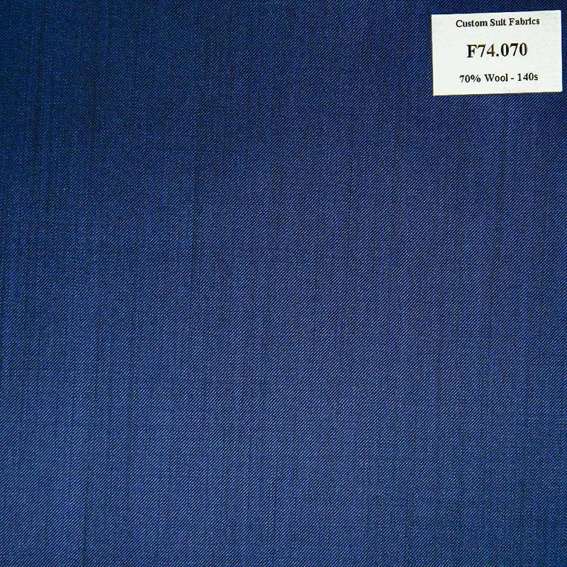 F74.070 Kevinlli V6 - Vải Suit 70% Wool - Xanh Dương Trơn