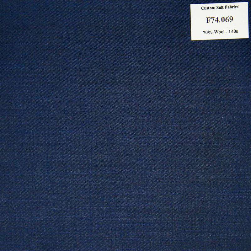 F74.069 Kevinlli V6 - Vải Suit 70% Wool - Xanh Dương Trơn