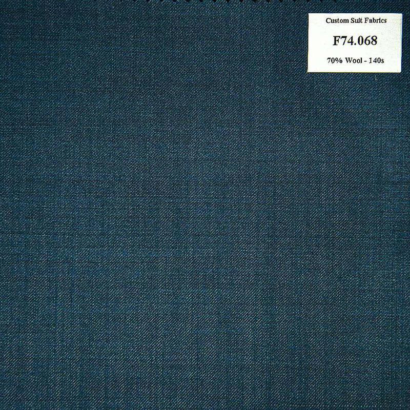 F74.068 Kevinlli V6 - Vải Suit 70% Wool - Xanh Dương Trơn