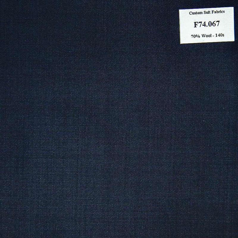 F74.067 Kevinlli V6 - Vải Suit 70% Wool - Xanh Dương Trơn