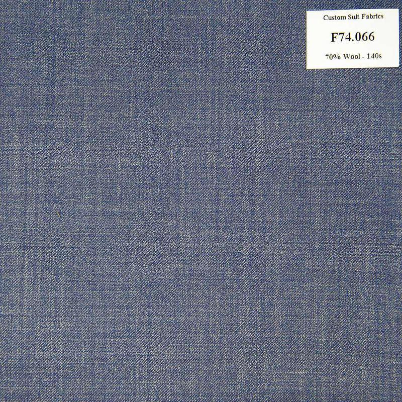 F74.066 Kevinlli V6 - Vải Suit 70% Wool - Xanh Dương Trơn