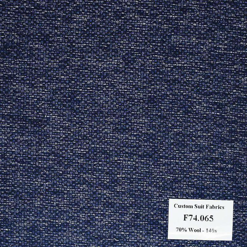F74.065 Kevinlli V6 - Vải Suit 70% Wool - Xanh Dương Trơn
