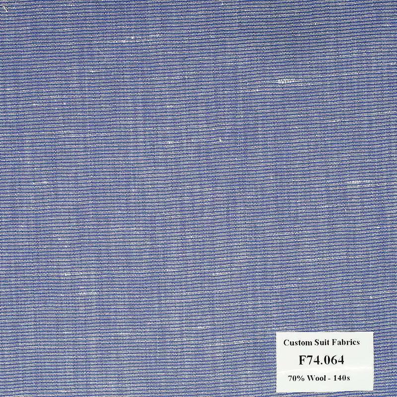 F74.064 Kevinlli V6 - Vải Suit 70% Wool - Xanh Dương Trơn