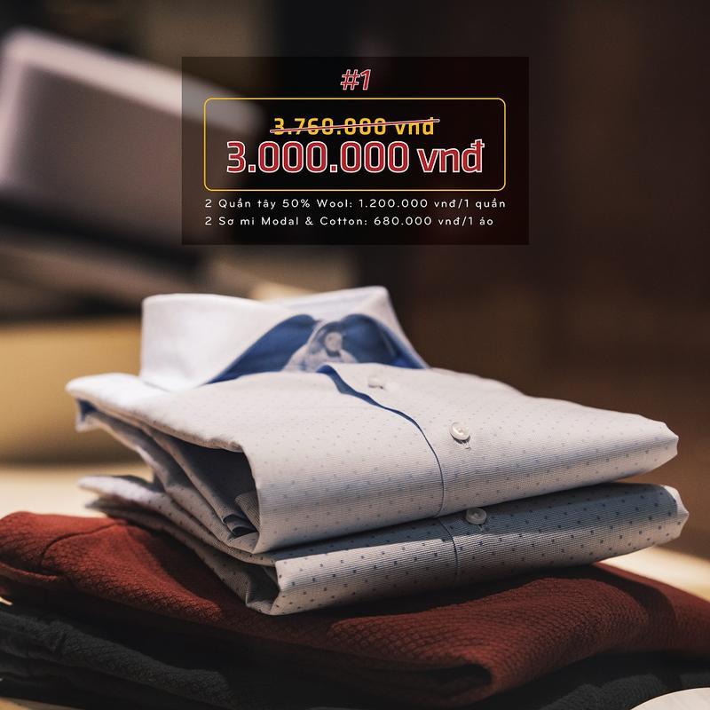 Combo 1: 2 bộ sơ mi, quần tây Mon Amie 50% Wool