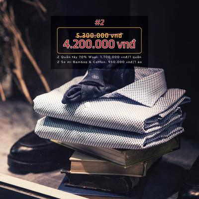 Combo 2: 2 bộ sơ mi, quần tây 70% Wool Italia cao cấp