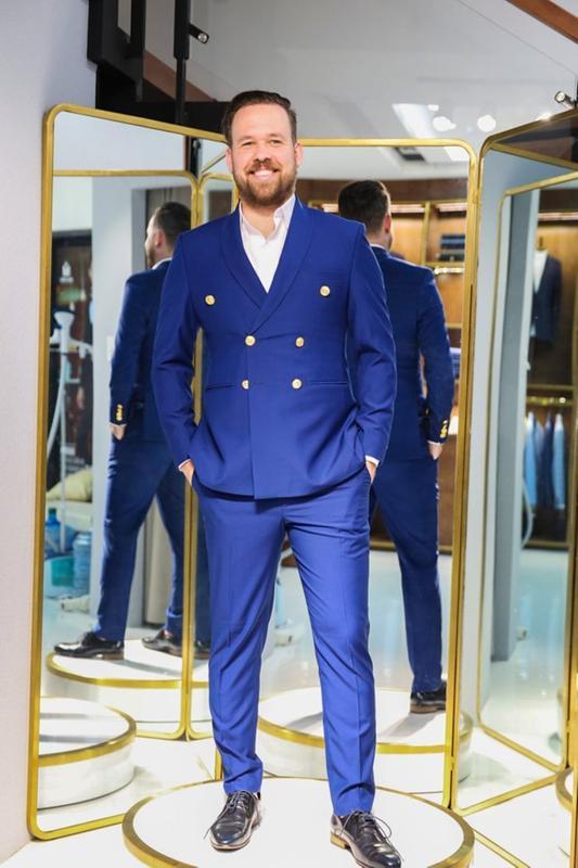 Vest xanh navy 2 hàng khuy hiện đại