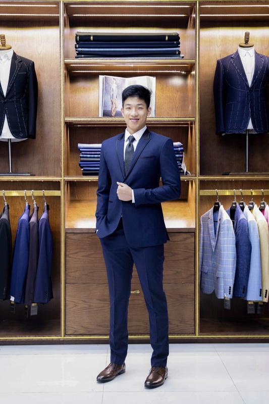Vest xanh navy cổ phối viền đen thời trang