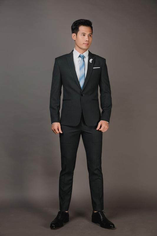 Vest xám đen 1 nút thời trang